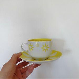 David's Tea yellow and white teacup and saucer